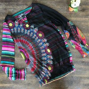 Desigual colorful sheer blouse